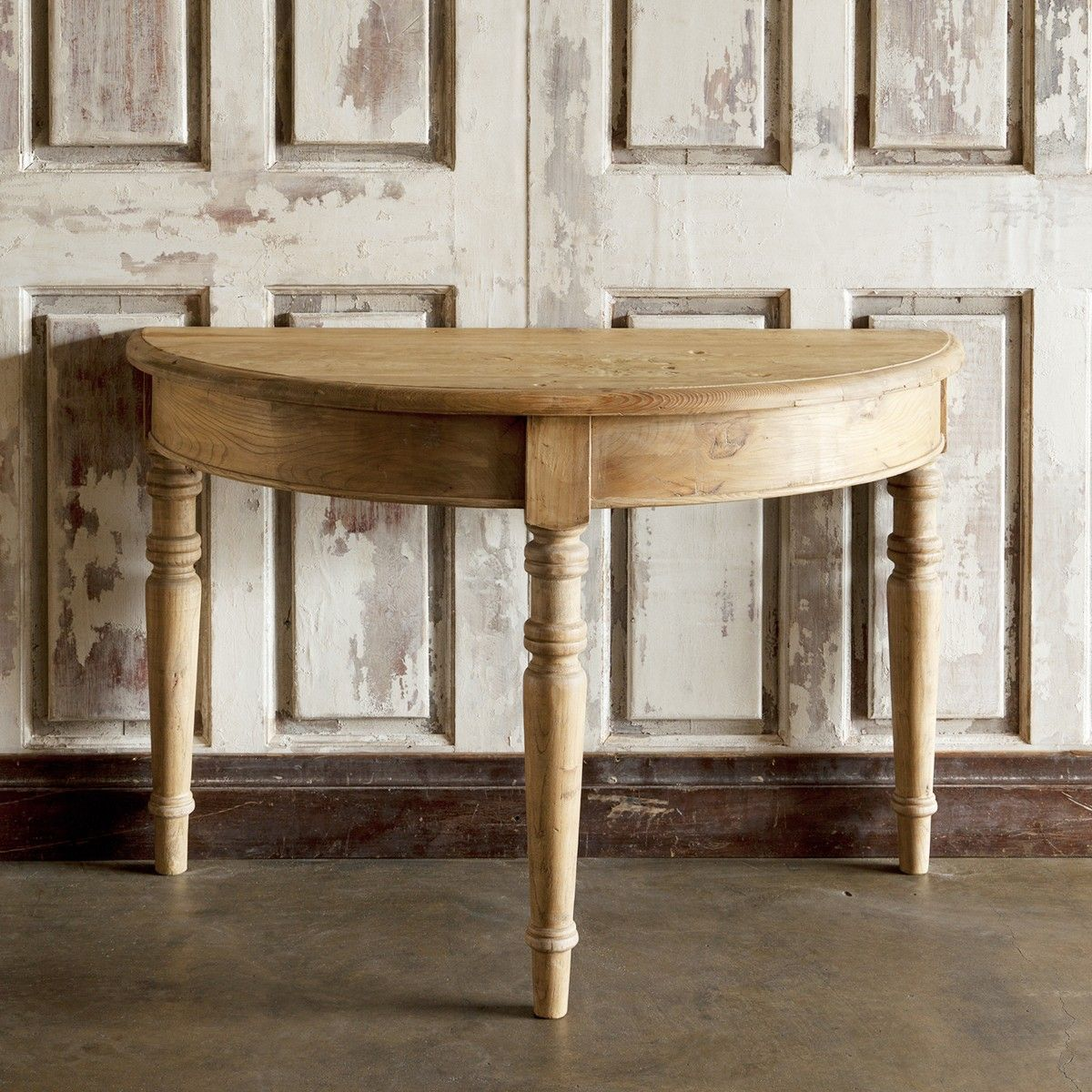 In a lovely half moon shape our demi lune console table is in a lovely half moon shape our demi lune console table is stylish and functional in a warm rustic wood finish the country style console table is framed geotapseo Gallery