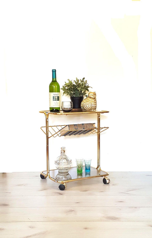 Elegant Glass Bar Cart Vintage