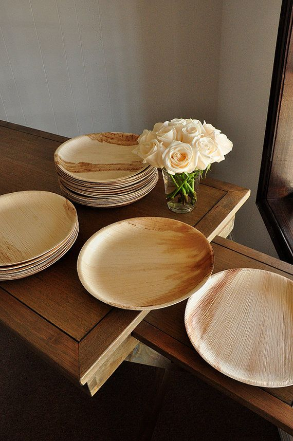 Round Disposable Dinner Plates For Wedding 10 Disposable 10 Palm Leaf Plates Set Of 10 Palm Leaf Plates Palm Leaf Plates Wedding Bamboo Plates Wedding