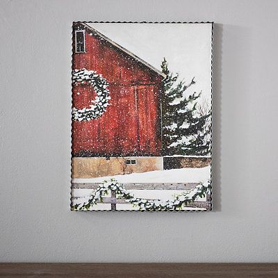 Our Metal Red Christmas Barn Art Print features a quaint image of a barn during snowfall! This piece will add a charming, festive touch to your farmhouse décor this holiday season!         Art measures 12L x 1W x 16H in.         Crafted of metal and wood         Textured metal finish         Features fenced in barnyard during snowfall         Hues of red, white, and green         Weight: 3 lbs.         Comes ready for wall mount; no additional hanging hardware required         Care: Dust with a
