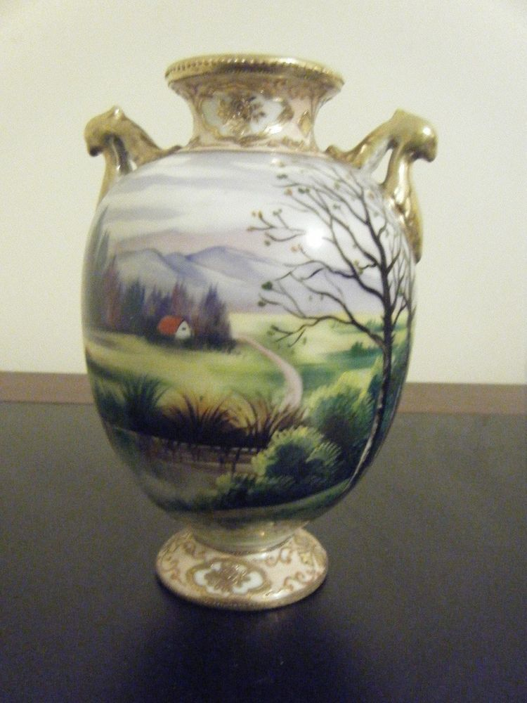 Antique Imperial Nippon Vase With Hand Painted Scene Gold Trim