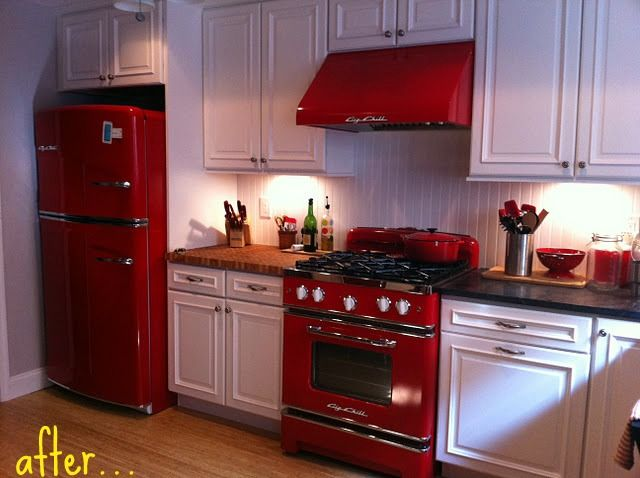 red kitchen appliances laminate countertop my house pinterest