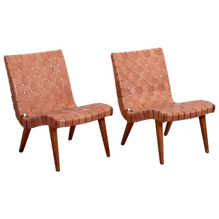 Pair of Early Jens Risom 654W Lounge Chairs by Knoll with New