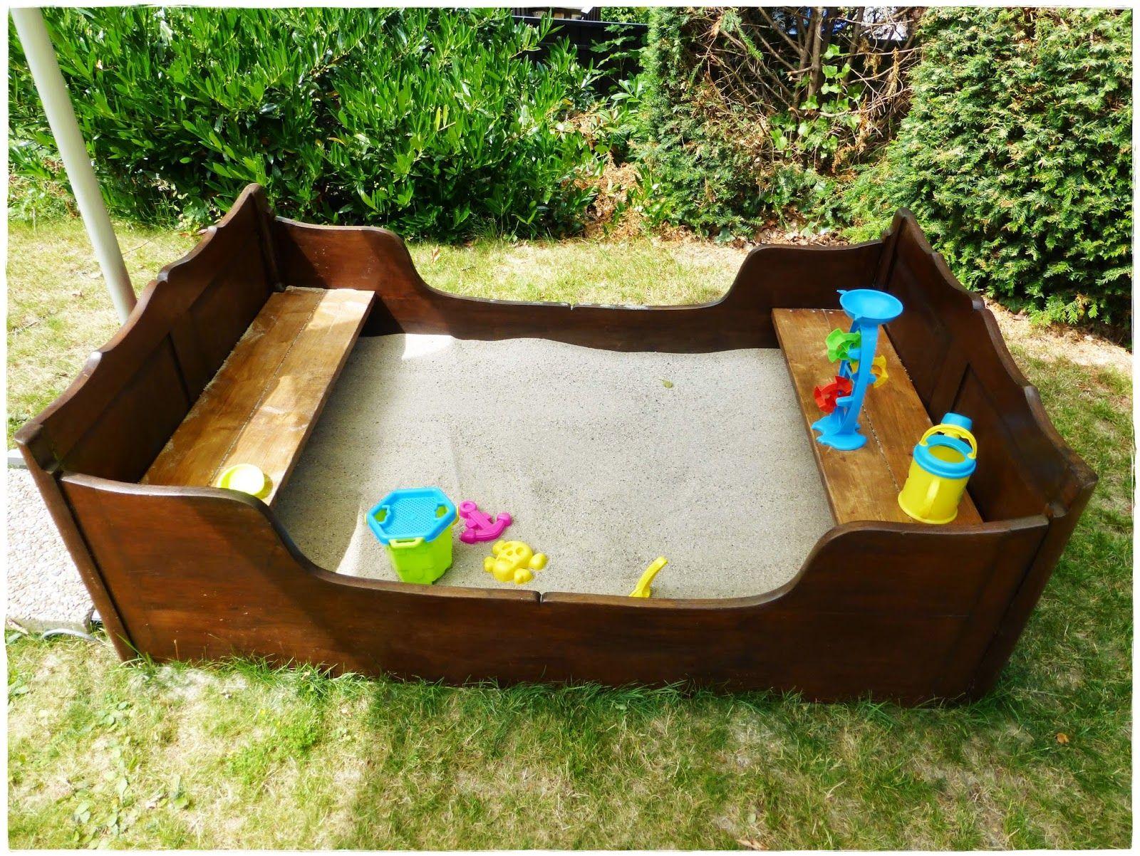 selbermachen diy sandkasten aus altem bett spielideen und bastelideen f r drinnen und. Black Bedroom Furniture Sets. Home Design Ideas