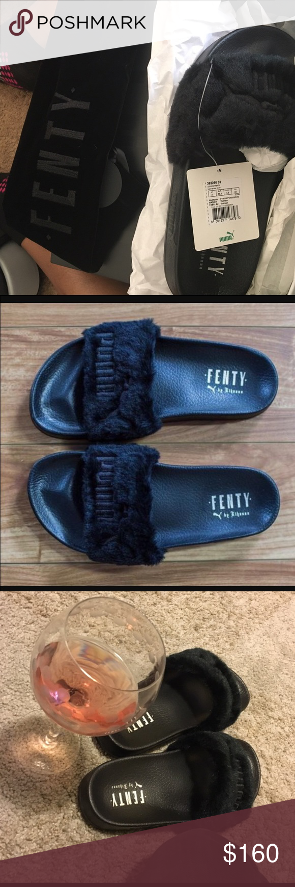 b4eda3f23858 Rihanna Puma Slides Black Rihanna Fenty Puma Slides (brand new ) with tags    receipt . These slides are sold out everywhere except here !