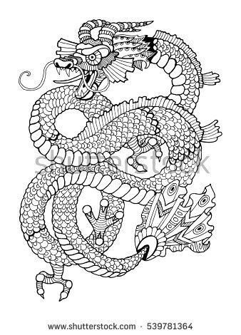 Dragon coloring book for adults vector illustration. Anti-stress ...