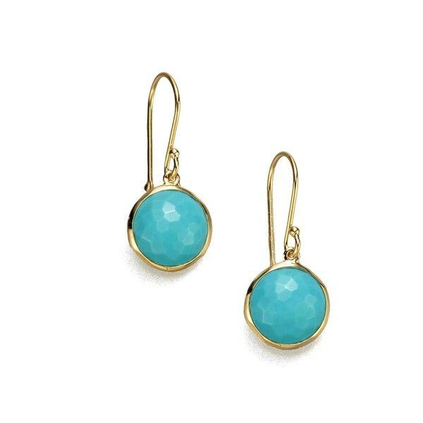 Ippolita Lollipop Turquoise 18k Yellow Gold Mini Drop Earrings 610 Liked