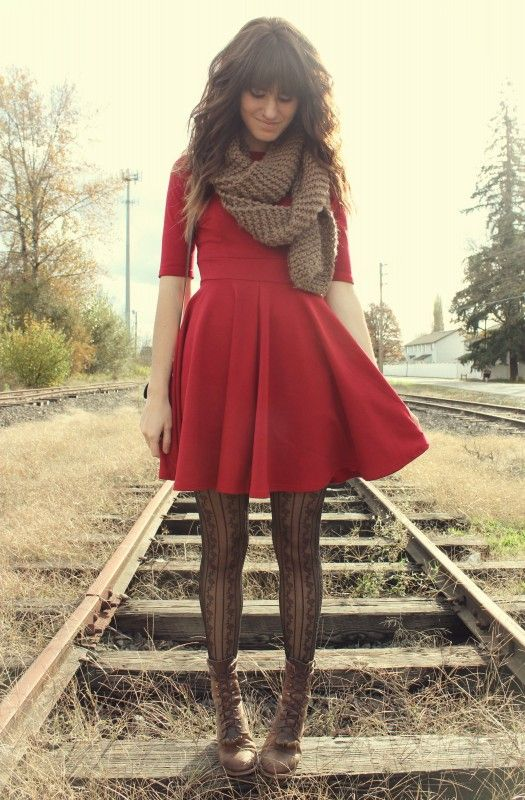 Little Red Dress Patterned S Boots Scarf Fall Outfit