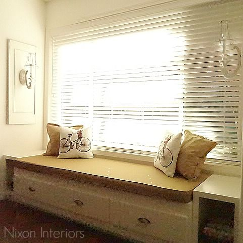 Groovy Twin Captains Bed Turned Into A Window Seat With Wood Blinds Bralicious Painted Fabric Chair Ideas Braliciousco