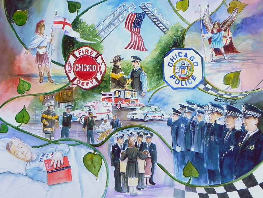 Police - Fire Memorial Mosaic Study This is a painting done as a ...