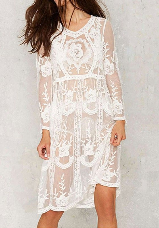 c8a1306fca11 White Flowers Print Lace Hollow-out Grenadine See-through Midi Dress ...