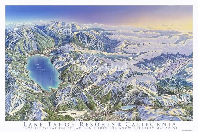 This image of the Lake Tahoe Resorts appeared in the December 1993 issue of Snow  Country magazine.
