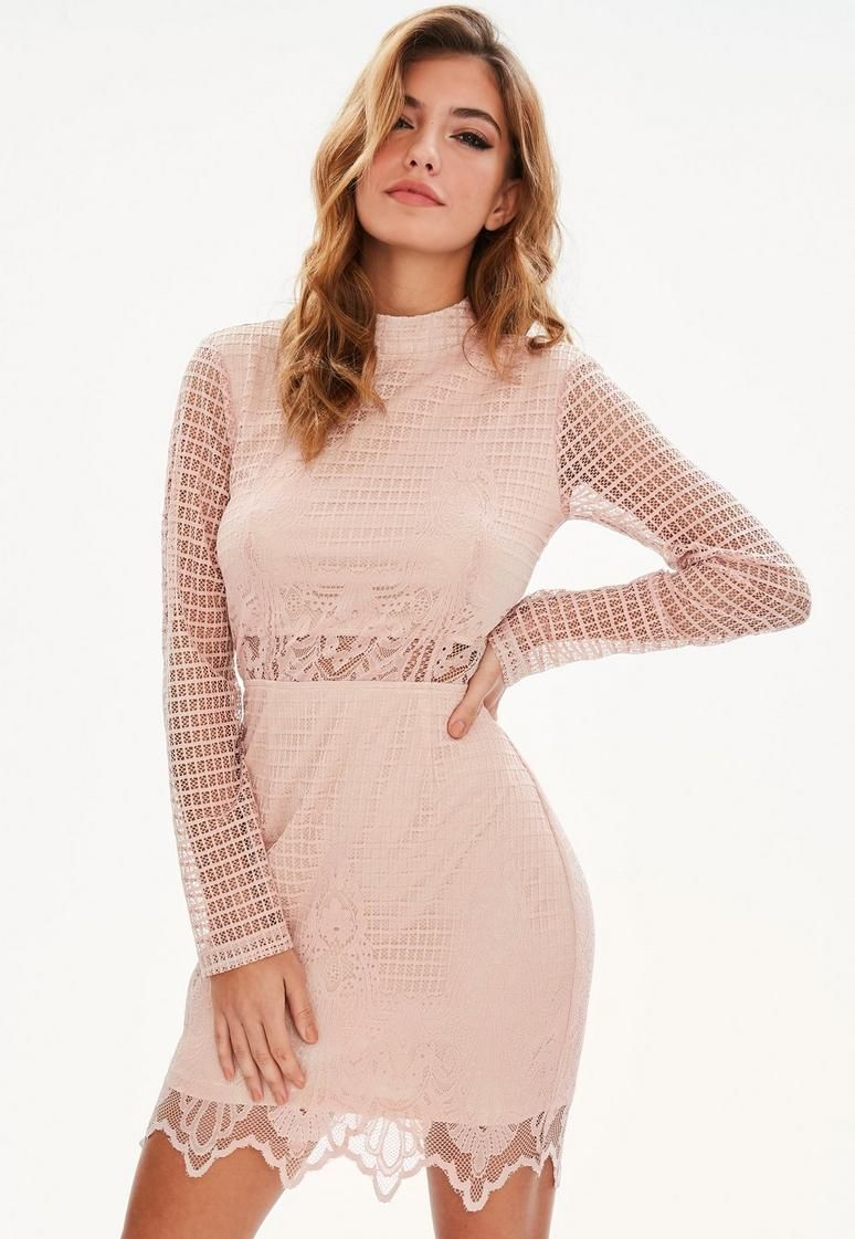 Pink High Neck Lace Dress  Roupas  Pinterest  High neck lace