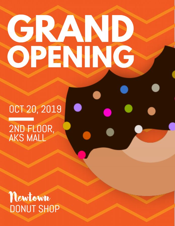 Donut Shop Eatery Grand Opening Flyer Design Template Grand