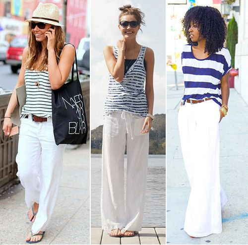 db149a2cf0 White Linen Pants and Striped Top Street Style   JohnnyWas.com Blog ...