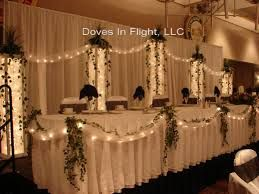 burlap, lights, and pinwheels or paper fans with hanging ribbon