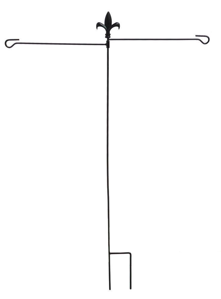 Evergreen Fleur De Lis Dual Arm Metal Garden Flag Stand 32 W X 43 H Garden Flag Stand Flag Stand Garden Flags