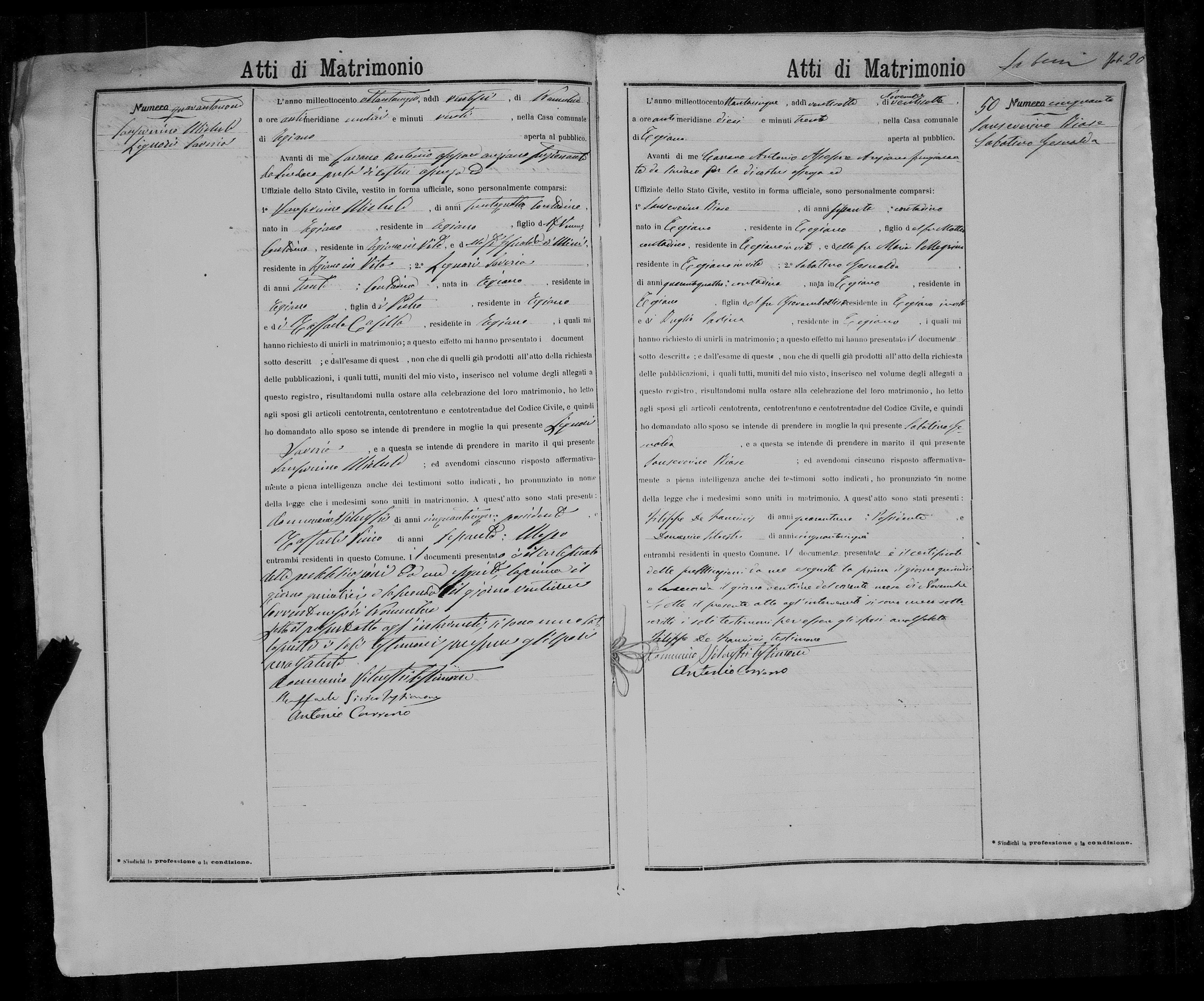 1885 Marriage Record Of Michele Sanseverino Marriage Records Marriage Family Research