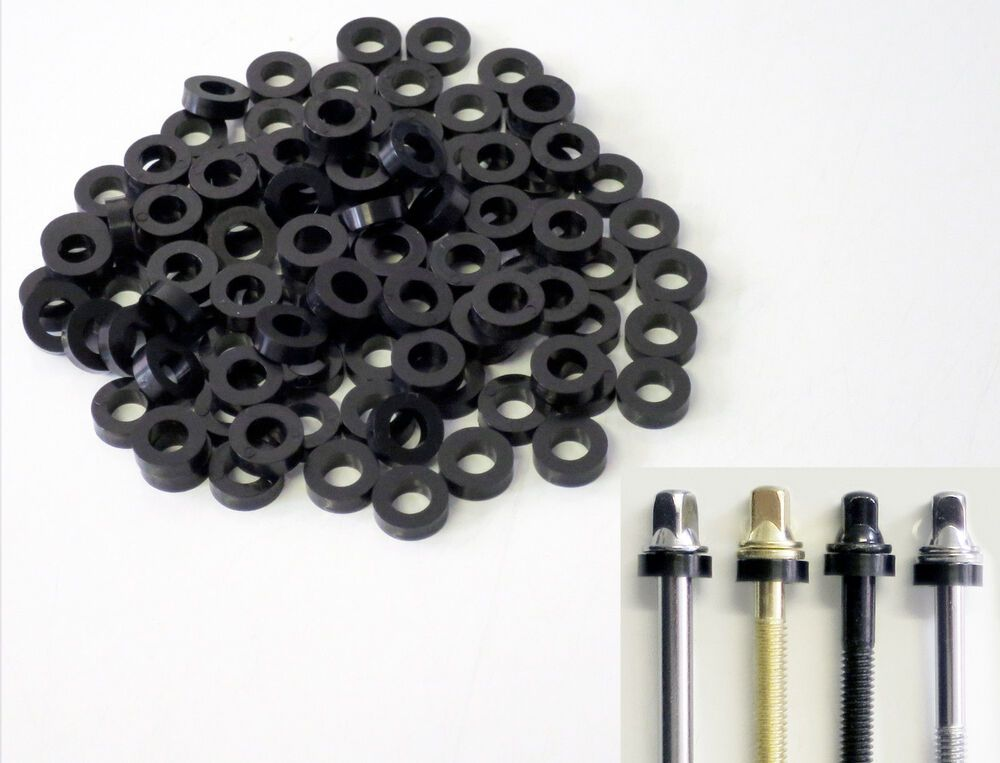 Snare /& Bass Drums 100 NEW Black THICK NYLON DRUM TENSION ROD WASHERS For Tom