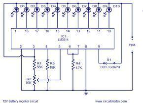 12v battery level indicator circuit (led bargraph) مدارات12v battery level indicator circuit (led bargraph)