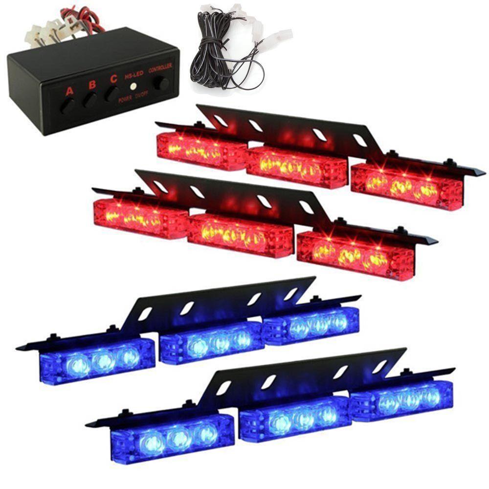 Blue and red 4x9 led car strobe lights 12v police