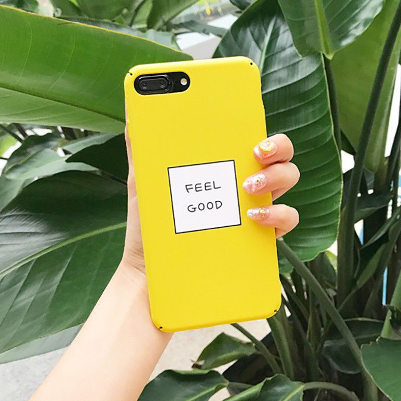 """buy popular 63a6d 66ec1 FEEL GOOD"""" Letter Matte Hard PC Yellow Phone Case Cover For iPhone X ..."""