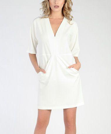 White V-Neck Pocket Dress #zulily #zulilyfinds