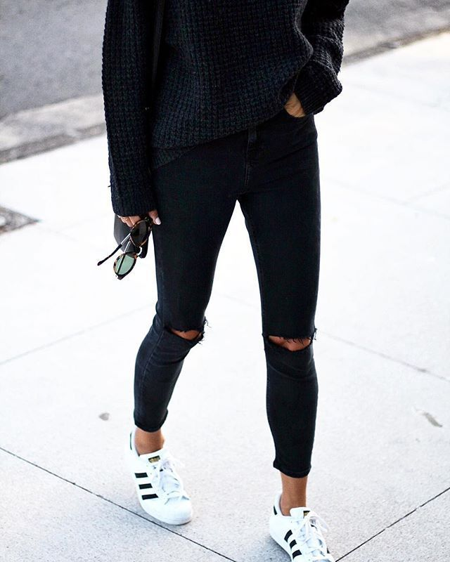 Adidas Superstar All Black Tumblr