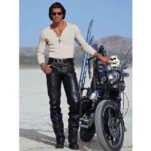 Mens black leather pants.