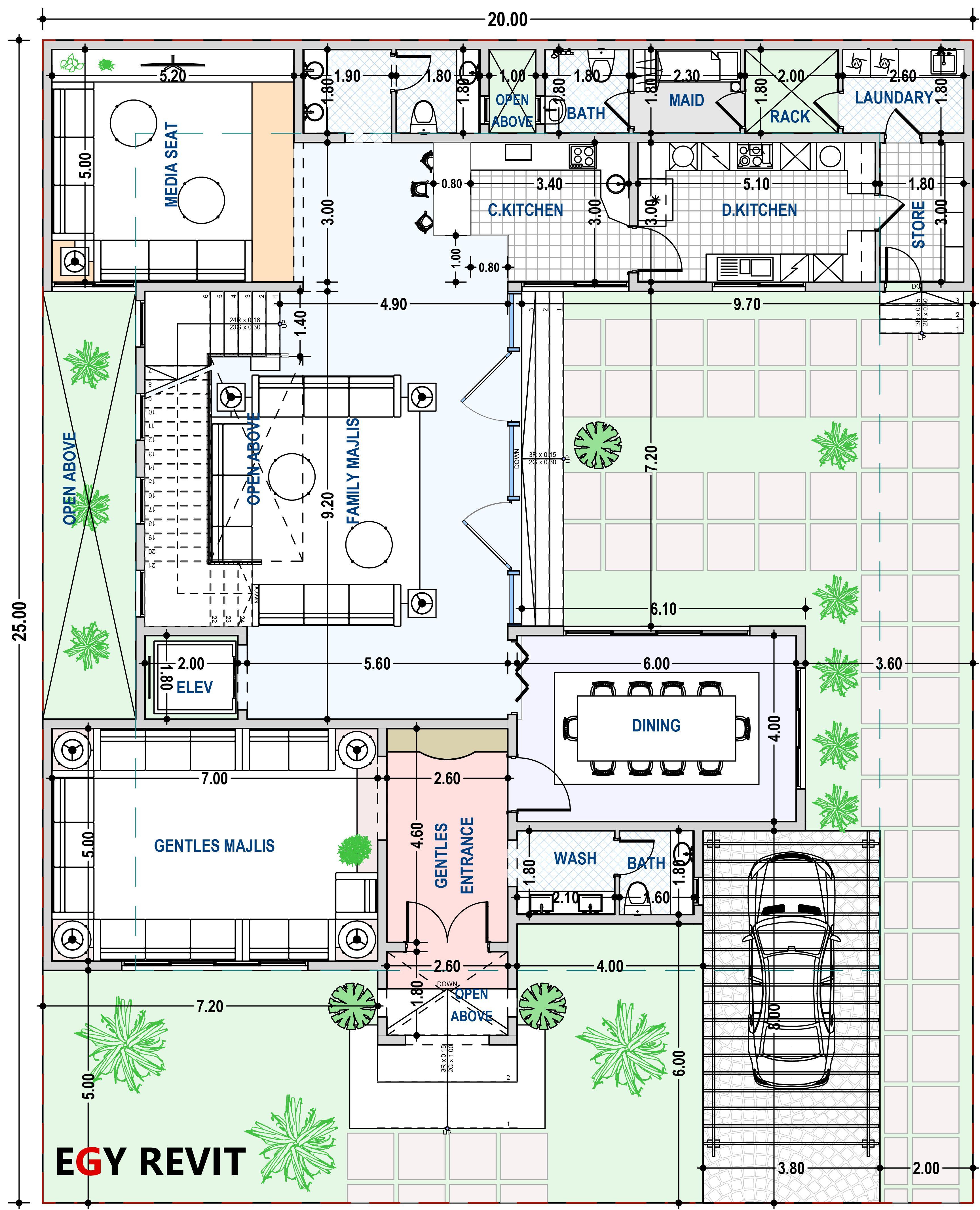 تصميم دور ارضي لفيلا بالسعوديه Square House Plans Architectural Floor Plans Model House Plan