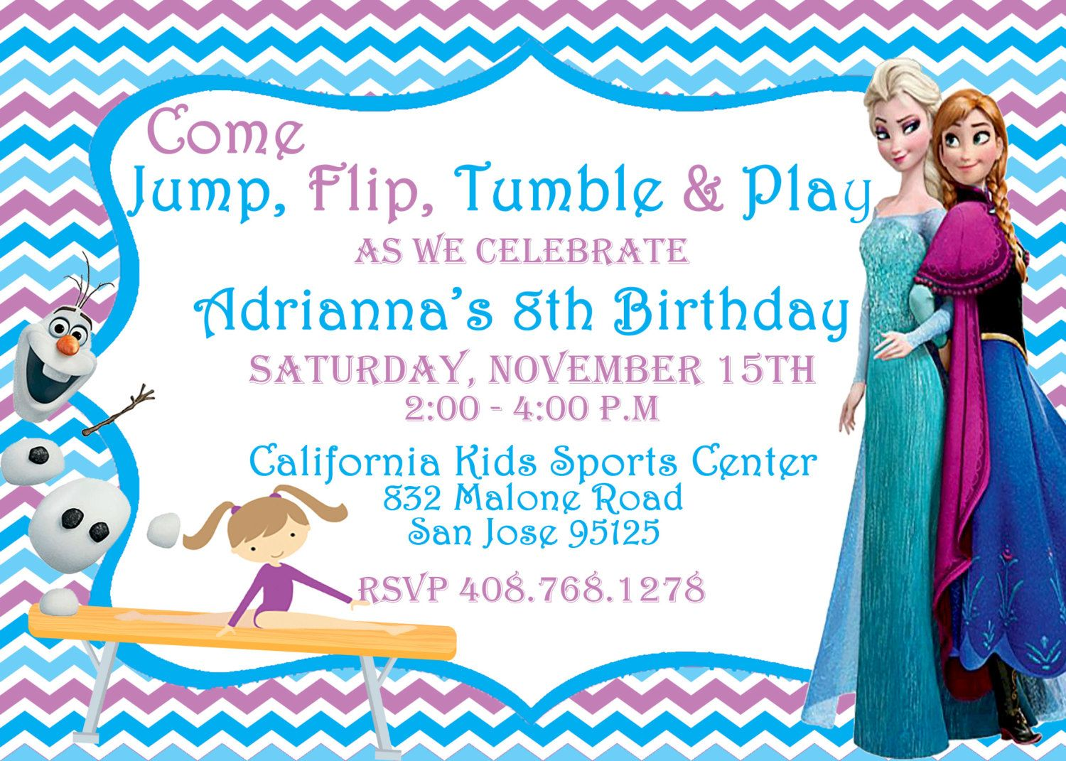 Frozen Birthday Party Invitation with Olaf and Gymnast on Balance ...
