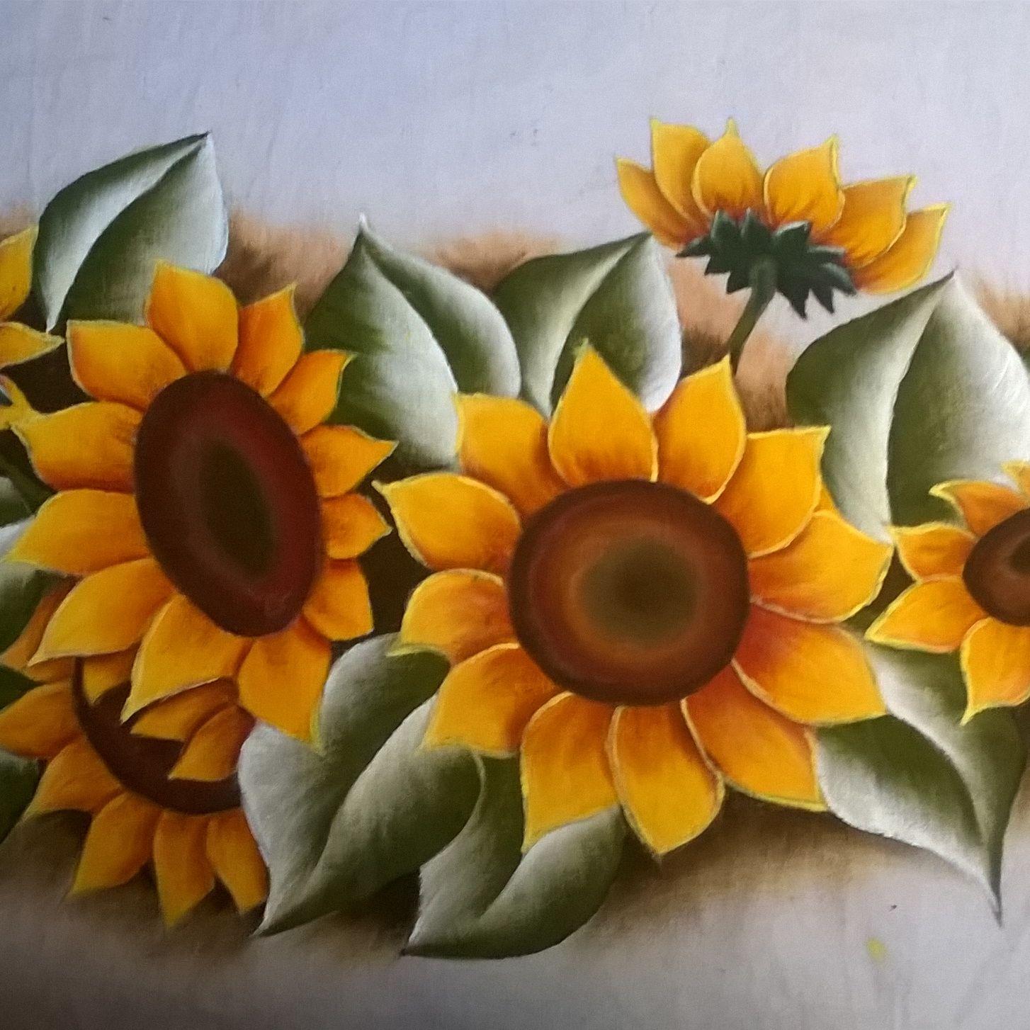 Aparador De Acrilico Transparente ~ Pintura em tecido girassóis pinturas Pinterest Girassóis, Pintura em tecido e Tecido