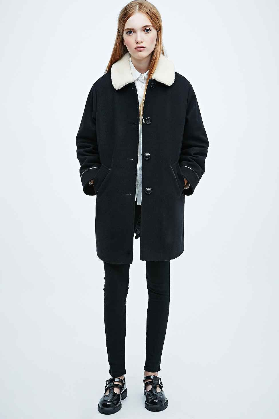 Cooperative Borg Swing Coat in Black - Urban Outfitters ...