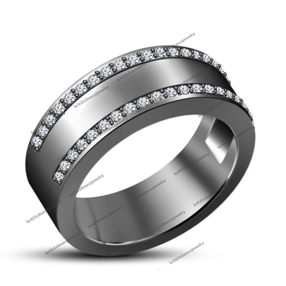 Black Gold Finish Men\'s Round Diamond Fashion Wedding Pinky Band ...