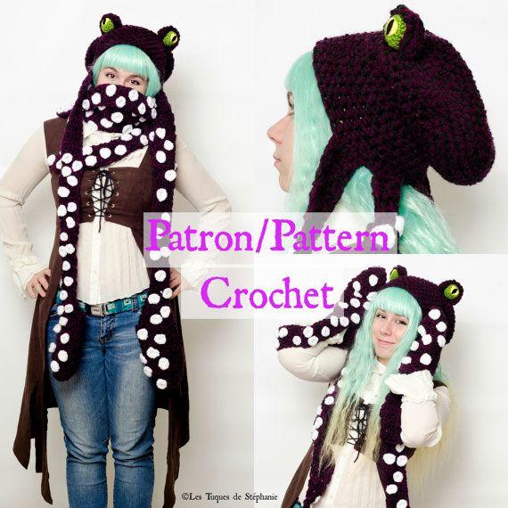 Crochet PATTERN Octopus scoodie, hat scarf mittens, Squid crochet ...