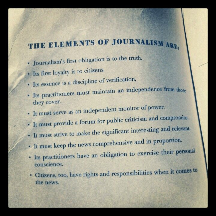 Elements of Journalism - digital journalist resume