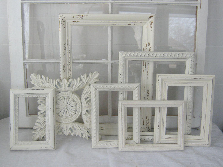 Shabby Chic Frame Collection - Shabby Chic - Antique White - Home Decor - Shabby Decor - Open Frames - Wedding Decor. Eri muotoisia ja kokoisia kehyksiä. Massa kaikki saman värisiks. Sopii yhdessä seinälle.