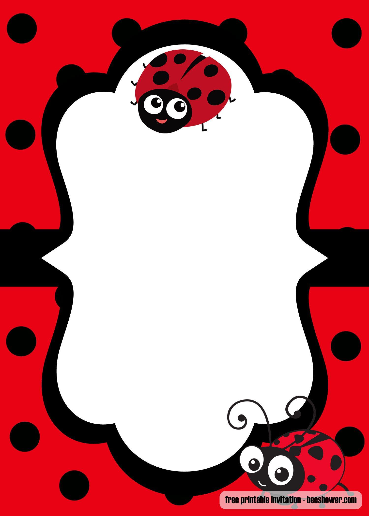 Cool FREE Printable Ladybug Baby Shower Invitations Templates