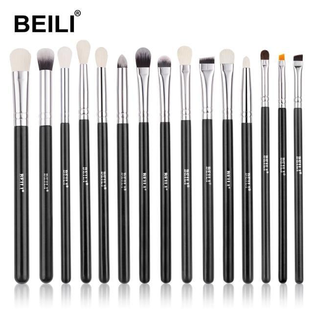 Professionelles schwarzes Make-up Ziegenhaarbürstenset – E15 / China