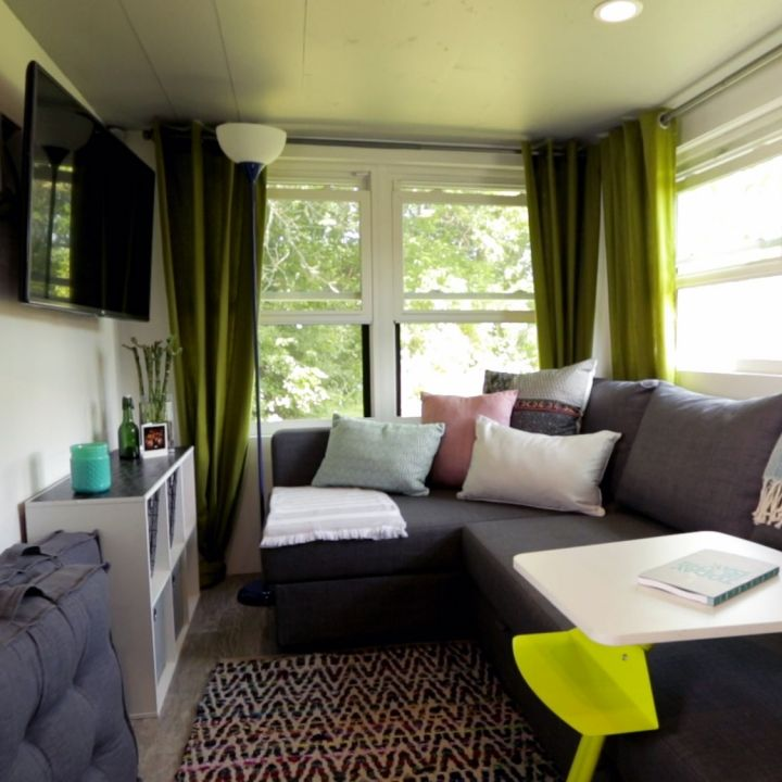 Who says you can 39 t fit a sectional couch in a tinyhouse - Tiny house living room ...