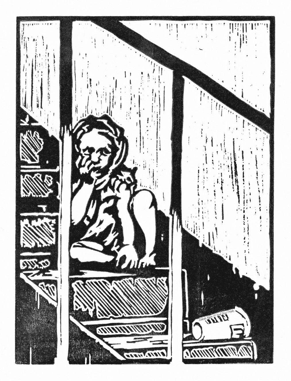 """Fleet Street"" ....lino print by Red Boy Prints 2015 ©"