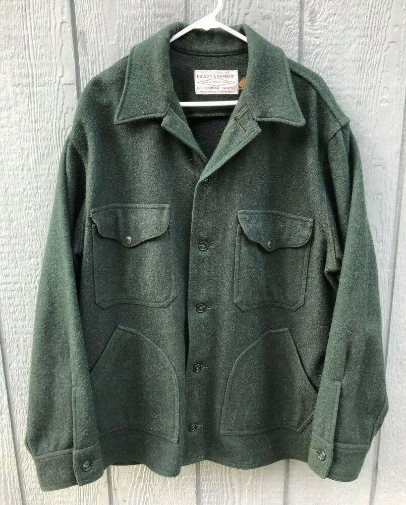 9aa7a35dd1f9c (eBay link) Men's CC FILSON Dark Green Wool Mackinaw Field Hunting Coat  Jacket XXL #fashion #clothing #shoes #accessories #mensclothing  #coatsjackets