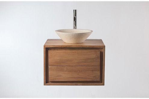 Miliboo Meuble Salle de Bain meuble sous vasque teck et Vasque