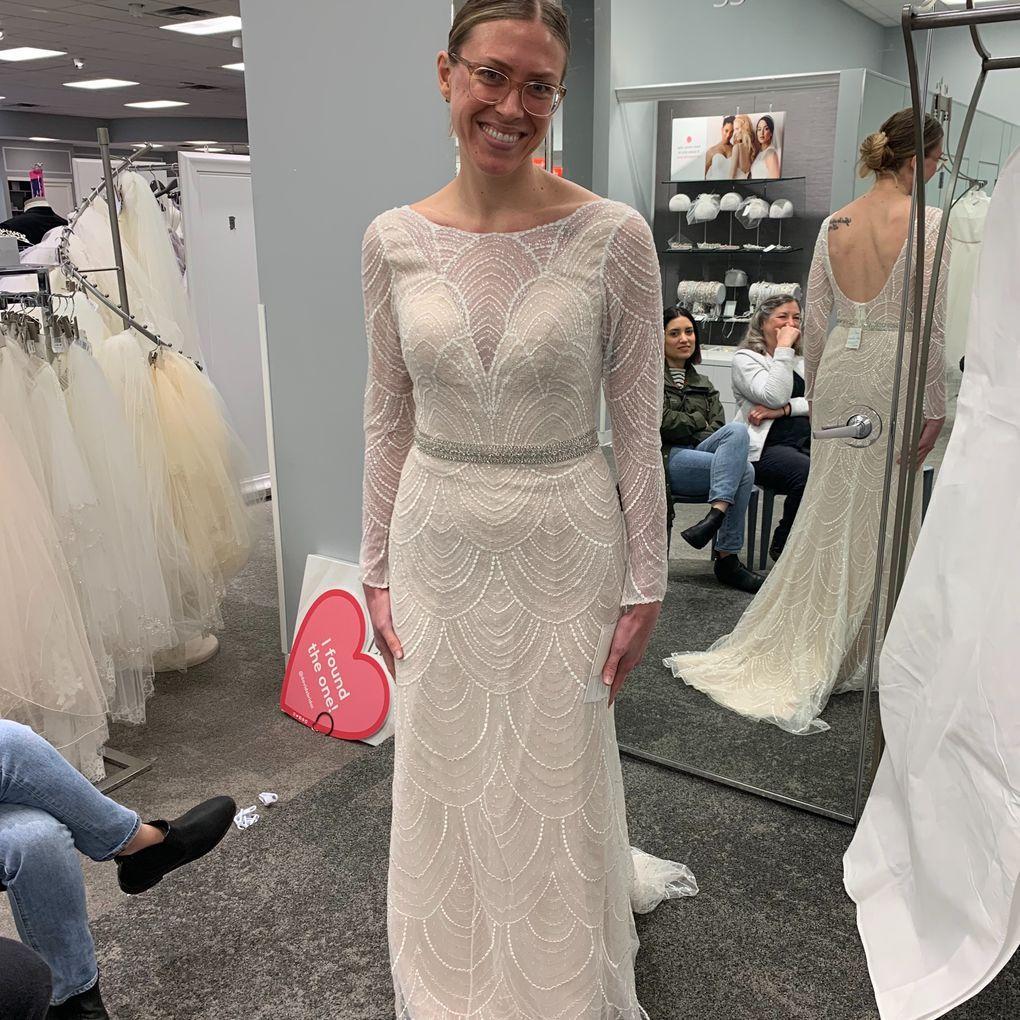 Allover Sequin Art Deco Sheath Wedding Dress David S Bridal