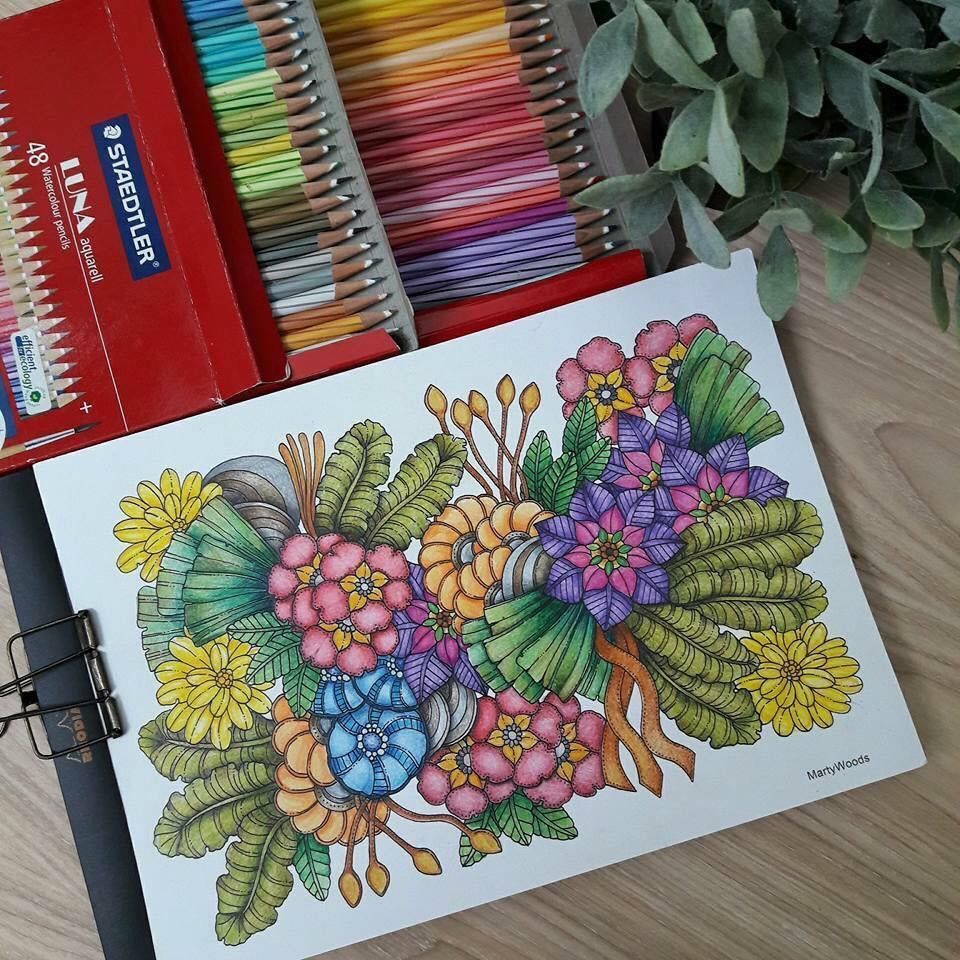 Art therapy coloring book and pencils - Coloring Books Art Therapy