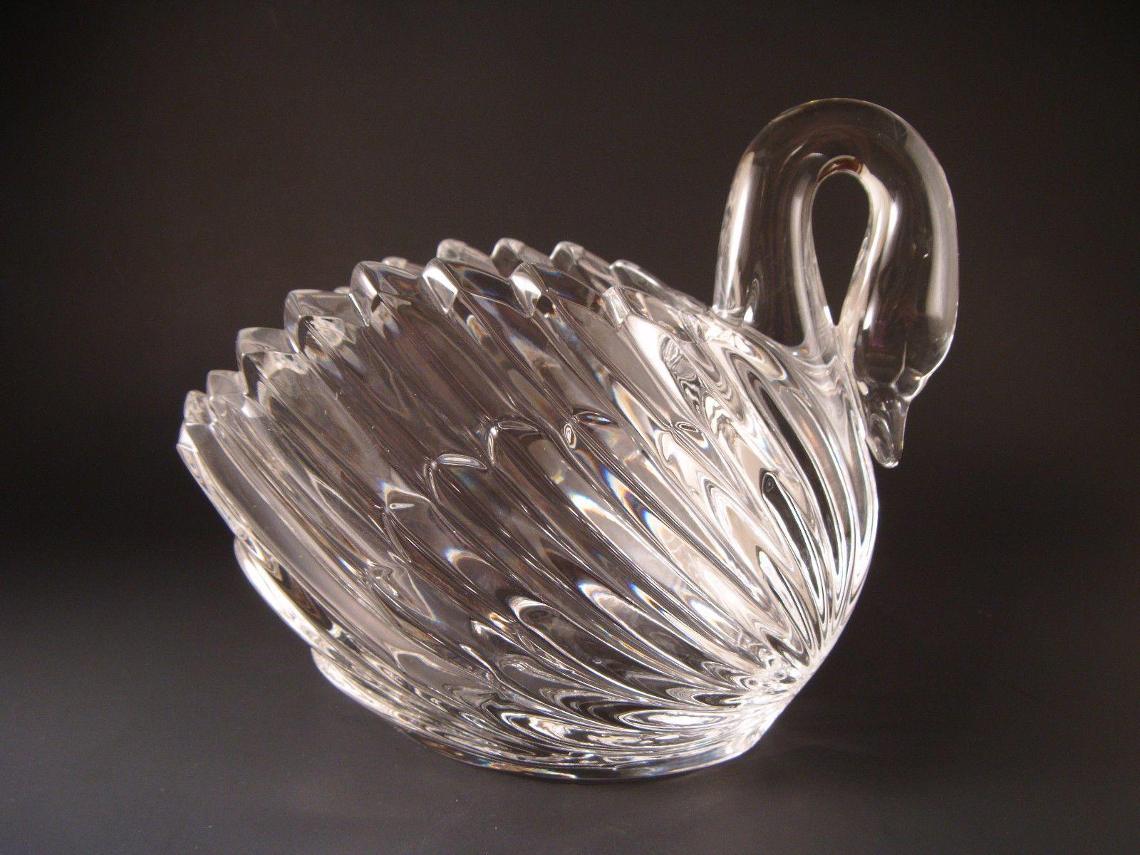 Nachtmann crystal swan vase bowl 6 tall lead glass germany glass nachtmann crystal swan vase floridaeventfo Choice Image