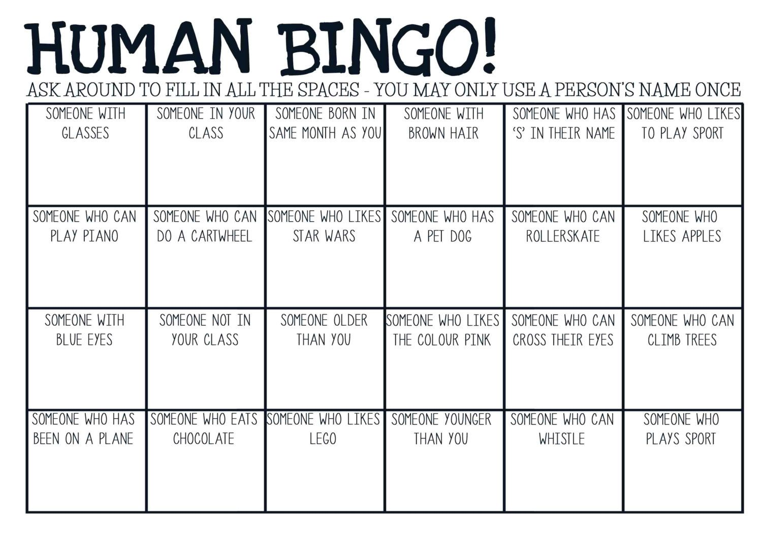 Printable pdf human bingo game ice breaker by for Ice breaker bingo template