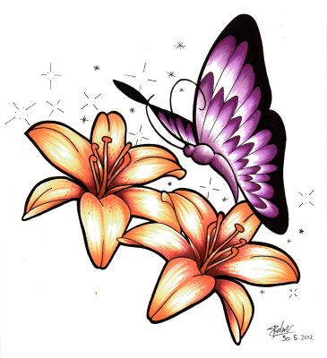 51c7234f7 Butterfly with Lily flowers Drawing at ArtistRising.com | Color ...