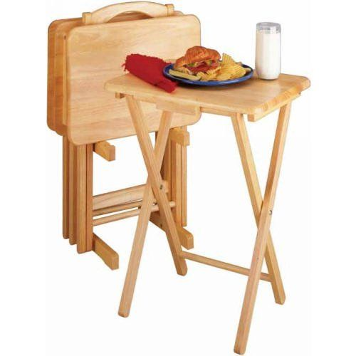 Winsome Tv Dining Tray Table Set Of 4 Plus Storage Stand