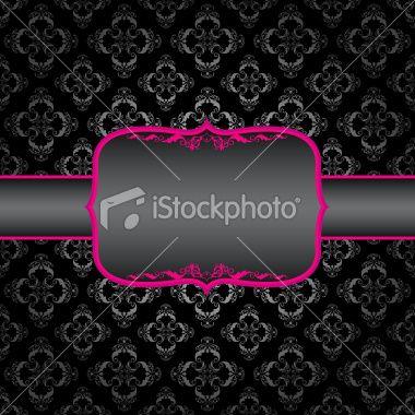 pink, black, silver Ornament frame Royalty Free Stock Vector Art Illustration